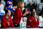 Graz, Austria - 2017 March 24: (C) Trainer Coach Roza Banasik - Zaranska from SO Poland supports her athletes in Speed Skating 333 meters race while Special Olympics World Winter Games Austria 2017 at Icestadium Graz Liebenau on March 24, 2017 in Graz, Austria.<br /> <br /> Mandatory credit:<br /> Photo by &copy; Adam Nurkiewicz / Mediasport<br /> <br /> Adam Nurkiewicz declares that he has no rights to the image of people at the photographs of his authorship.<br /> <br /> Picture also available in RAW (NEF) or TIFF format on special request.<br /> <br /> Any editorial, commercial or promotional use requires written permission from the author of image.<br /> <br /> Image can be used in the press when the method of use and the signature does not hurt people on the picture.