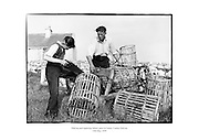 Making and repairing lobster pots at Carna, Connemara, County Galway.<br />