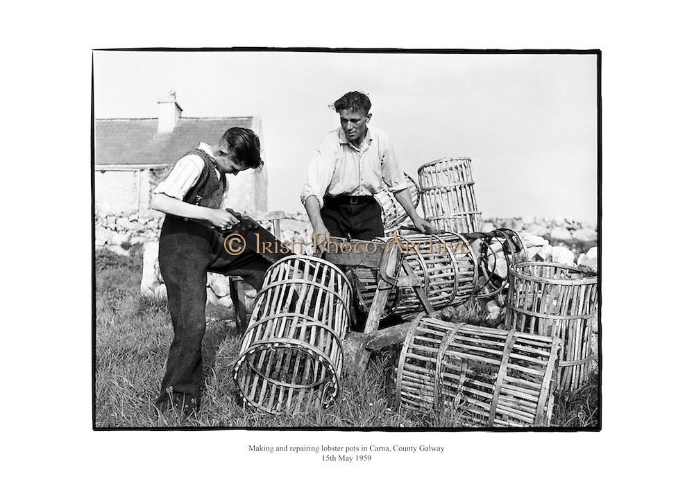 Making and repairing lobster pots at Carna, Connemara, County Galway.<br /> <br /> 15th May 1959<br /> 15/05/1959