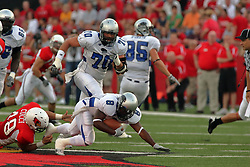 20 September 2008: Pat Cucci makes a last ditch effort snagging the left toe of Travorus Bess to make a tackle during Illinois State Redbirds home opener lose to the #20 ranked Eastern Illinois Panthers at Hancock Stadium on the campus of Illinois State University in Normal Illinois. Final score was 25-21.