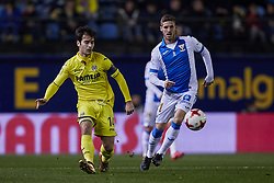 January 10, 2018 - Vila-Real, Castellon, Spain - Manuel Trigueros (L) of Villarreal CF competes for the ball with Ruben Perez of CD Leganes during the Copa del Rey Round of 16, second leg game between Villarreal CF and CD Leganes on January 10, 2018 in Vila-real, Spain  (Credit Image: © David Aliaga/NurPhoto via ZUMA Press)