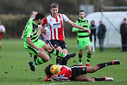 Forest Green Rovers Omar Bugiel(11) is fouled on the edge of the box during the The Central League match between Cheltenham Town Reserves and Forest Green Rovers Reserves at The Energy Check Training Ground, Cheltenham, United Kingdom on 28 November 2017. Photo by Shane Healey.