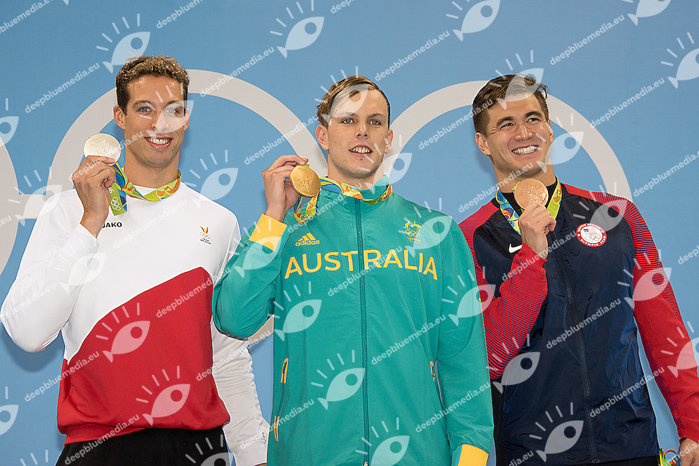 100 freestyle men<br /> Timmers Pieter BEL silver , Chalmers Kyle AUS gold medal, Adrian Nathan USA<br /> Rio de Janeiro  XXXI Olympic Games <br /> Olympic Aquatics Stadium <br /> swimming finals 10/08/2016<br /> Photo Giorgio Scala/Deepbluemedia/Insidefoto