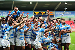 Argentina U20 players celebrate with a post-match selfie - Mandatory byline: Patrick Khachfe/JMP - 07966 386802 - 25/06/2016 - RUGBY UNION - AJ Bell Stadium - Manchester, England - Argentina U20 v South Africa U20 - World Rugby U20 Championship 2016 3rd Place Play-Off.