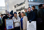 UNITED KINGDOM, London: 12 January 2016 NHS Junior doctors stand outside St Thomas Hospital in London as they hold a 24 hour strike in a dispute with the government over a new contract . Pic by Andrew Cowie / Story Picture Agency