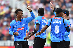 Sussex Sharks' Delray Rawlins (left) celebrates taking the catch of Somerset's Johann Myburgh during the Vitality T20 Blast Semi Final match on Finals Day at Edgbaston, Birmingham.