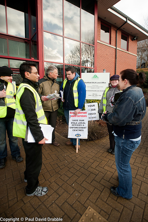 PCS members and supporters in Sheffield stage an eight-hour demonstration to protest  against the planned closure of the local office of the Driver and Vehicle Licensing Agency (DVLA). The protest was called to coincide with a visit to the premises by transport minister Mike Penning.on Monday (23 January) but according to Mike Mackie, assistant secretary of the PCS northern branch for the DVLA, the visit was canceled within 15 minutes of the Sheffield Demo being announced on the PCS website..www.pauldaviddrabble.co.uk..23 January 2012 -  Image © Paul David Drabble