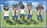 Illustration of of 5 men in lab coats searching in every direction with a pair of binoculars.