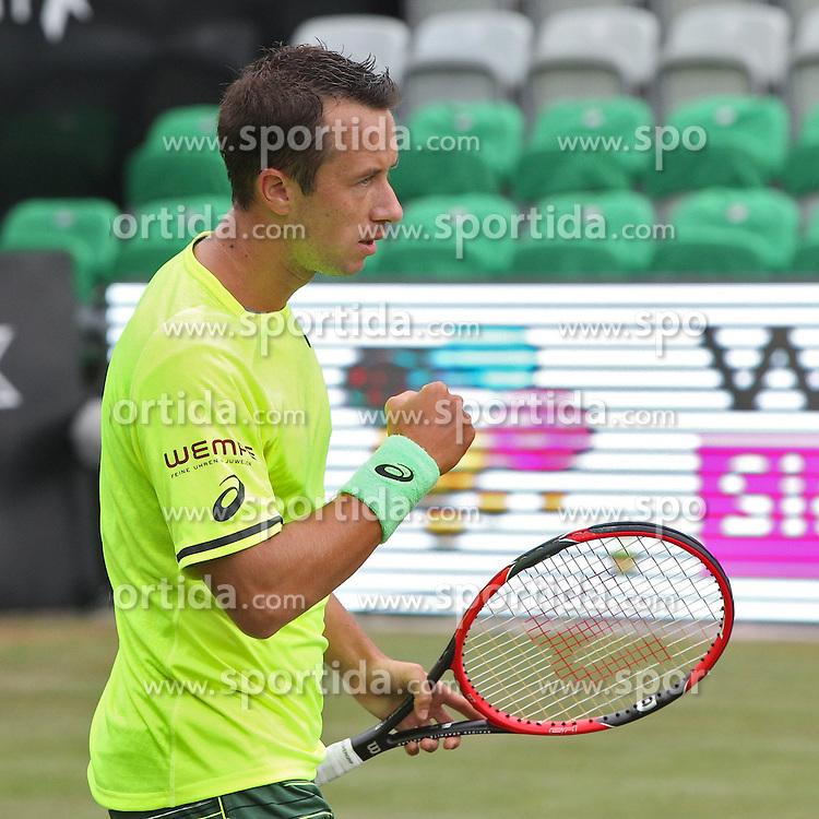 08.06.2015, Tennis Club Weissenhof, Stuttgart, GER, ATP Tour, Mercedes Cup Stuttgart, im Bild Philipp Kohlschreiber ( GER ) ballt die Faust nach dem Sieg // during the Mercedes Cup of ATP world Tour at the Tennis Club Weissenhof in Stuttgart, Germany on 2015/06/08. EXPA Pictures &copy; 2015, PhotoCredit: EXPA/ Eibner-Pressefoto/ Langer<br /> <br /> *****ATTENTION - OUT of GER*****