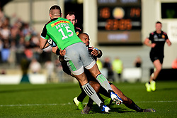 Tom O'Flaherty of Exeter Chiefs tackles Mike Brown of Harlequins - Mandatory by-line: Ryan Hiscott/JMP - 19/10/2019 - RUGBY - Sandy Park - Exeter, England - Exeter Chiefs v Harlequins - Gallagher Premiership Rugby