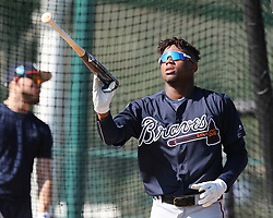 February 15, 2018 - Lake Buena Vista, FL, USA - Braves outfielder Ronald Acuna, rated the consensus No. 1 prospect in baseball this winter by several experts, takes batting practice arriving early and ready to prove it's his time on Thursday, Feb. 15, 2018, at the ESPN Wide World of Sports Complex in Lake Buena Vista, Fla. (Credit Image: © Curtis Compton/TNS via ZUMA Wire)