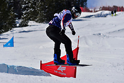 Snowboarder Cross Action, STRONG Evan, USA at the 2016 IPC Snowboard Europa Cup Finals and World Cup