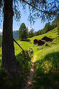 Walking trail passes chalet barns below the Matterhorn mountain in the Swiss Alps near Zermatt, Switzerland