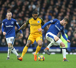 Jurgen Locadia of Brighton and Hove Albion (C) and Gylfi Sigurdsson of Everton (R) in action - Mandatory by-line: Jack Phillips/JMP - 10/03/2018 - FOOTBALL - Goodison Park - Liverpool, England - Everton v Brighton and Hove Albion - English Premier League