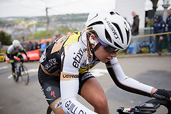 Jessy Druyts takes on Mur de Huy at the La Flèche Wallonne Femmes - a 120 km road race starting and finishing in Huy on April 19 2017 in Liège, Belgium.