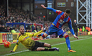 Joel Ward looks to avade the challenge during the Barclays Premier League match between Crystal Palace and Watford at Selhurst Park, London, England on 13 February 2016. Photo by Michael Hulf.