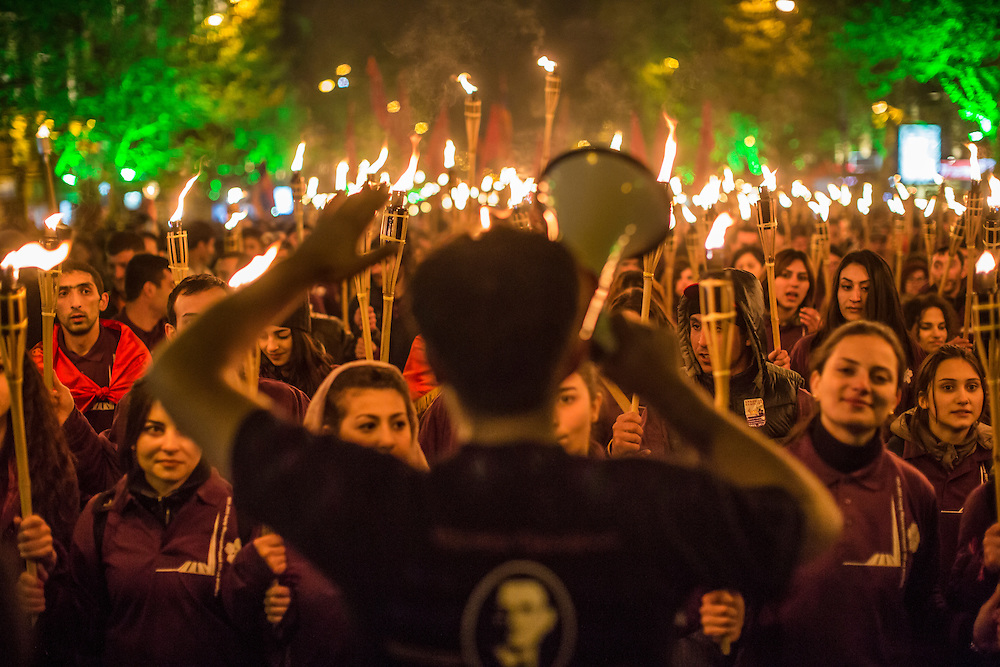 YEREVAN, ARMENIA - APRIL 24: People participate in a torchlight procession through the city to commemorate the anniversary of the Armenian genocide on April 24, 2015 in Yerevan, Armenia. Armenians today are marking the one hundredth anniversary of events generally considered to be the start of a campaign of genocide against minority ethnic Armenians living in present-day eastern Turkey by the Ottoman government over fears of their allegiance during World War I. (Photo by Brendan Hoffman/Getty Images) *** Local Caption ***