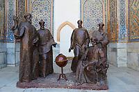 Ouzbékistan, Samarcande, classé Patrimoine Mondial de l'UNESCO, place du Reghistan, Medersa Ulug Beg, discussion scientifique avec Ulug Beg // Uzbekistan, Samarkand, Unesco World Heritage, the Reghistan, Ulug Beg Medersa