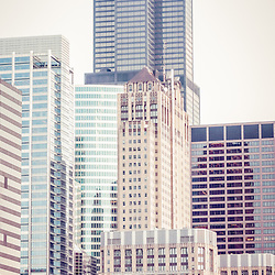 Chicago vertical panorama retro picture of Willis Tower (Sears Tower) and other downtown Chicago Loop city buildings. Willis Tower is one of the world's tallest skyscrapers. Photo panoramic ratio is 1:3 and has retro vintage tone.