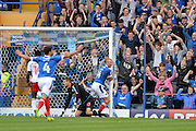 Portsmouth Forward, Curtis Main (14) scores to make it 3-0 during the EFL Sky Bet League 2 match between Portsmouth and Crawley Town at Fratton Park, Portsmouth, England on 3 September 2016. Photo by Adam Rivers.