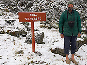 Carl Fatti at the Zona Silvestre (Wilderness Zone).  The sign mysteriously disappeared just two days later.  We think it was taken as a souvenir by a French expedition that passed through, spending just one night on their way out of the valley.