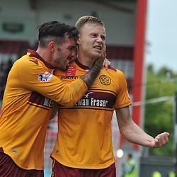 Andy Rose celebrates with his teammates after scoring in the match between Hamilton Accies v Motherwell, Ladbrokes Premiership, The Super Seal Stadium, Saturday 14 October 2017  (c) Angie Isac | SportPix.org.uk