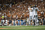 AUSTIN, TX - SEPTEMBER 19:  Jared Goff #16 and Jordan Rigsbee #73 of the California Golden Bears celebrate after after a score the Texas Longhorns on September 19, 2015 at Darrell K Royal-Texas Memorial Stadium in Austin, Texas.  (Photo by Cooper Neill/Getty Images) *** Local Caption *** Jared Goff; Jordan Rigsbee