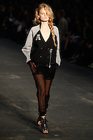 Hanne Gaby Odiele walks the runway wearing Alexander Wang Spring 2010 collection during Mercedes-Benz Fashion Week in New York, NY on September 11, 2009