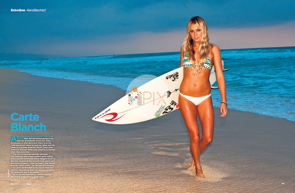 Sexy surf babe Alana Blanchard features as the 'centerfold' in the February issue of Sport magazine, UK.  <br /> <br /> Image from our shoot 'Alana Blanchard', available for worldwide use with approval: http://www.apixsyndication.com/gallery/Alana-Blanchard/G0000_asoW0gVUls/C0000cIK4echnHfY