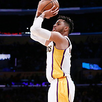 26 March 2016: Los Angeles Lakers guard D'Angelo Russell (1) takes a jump shot during the Portland Trail Blazers 97-81 victory over the Los Angeles Lakers, at the Staples Center, Los Angeles, California, USA.
