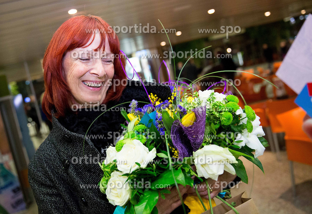 Tanja Kosir, mother of Zan Kosir at reception of Slovenia team arrived from Winter Olympic Games Sochi 2014 on February 25, 2014 at Airport Joze Pucnik, Brnik, Slovenia. Photo by Vid Ponikvar / Sportida