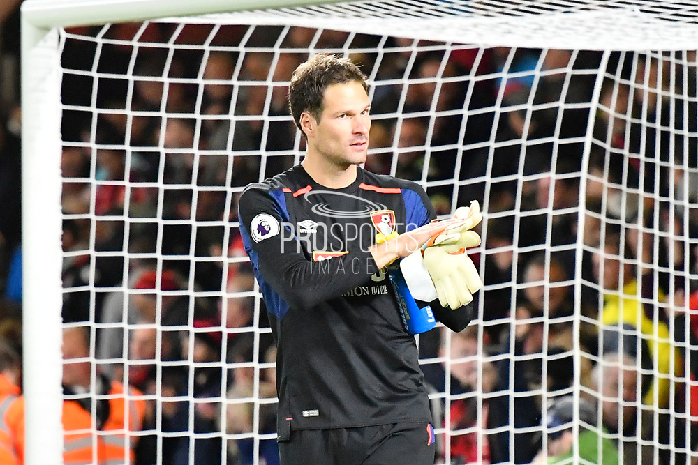 Asmir Begovic (27) of AFC Bournemouth applauds the fans at ful time after Bournemouth won 2-1 during the Premier League match between Bournemouth and Brighton and Hove Albion at the Vitality Stadium, Bournemouth, England on 15 September 2017. Photo by Graham Hunt.