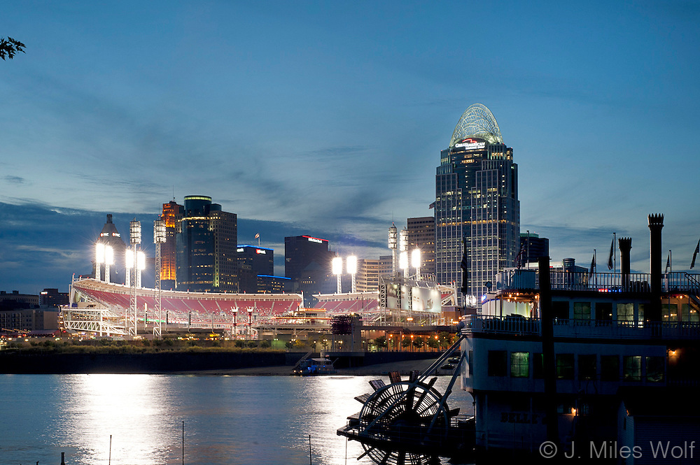Cincinnati Skyline and Great American Ballpark with Steamboat