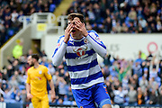 Reading Forward Jake Cooper (35) heads a goal which is disallowed during the Sky Bet Championship match between Reading and Preston North End at the Madejski Stadium, Reading, England on 30 April 2016. Photo by Jon Bromley.