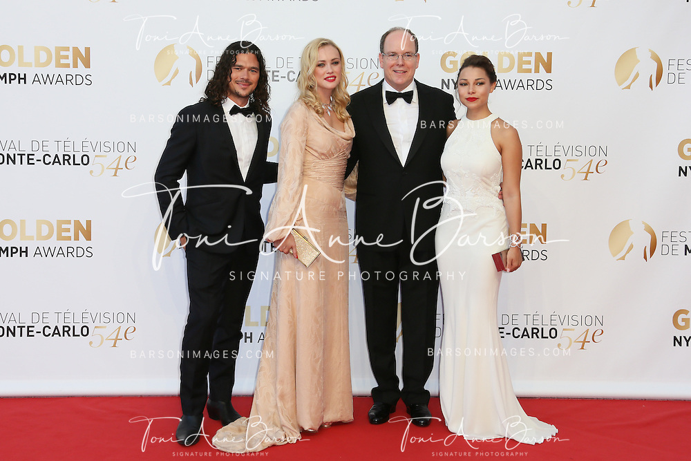 MONTE-CARLO, MONACO - JUNE 11:  (L-R) Luke Arnold, Hannah New, Prince Albert II of Monaco and Jessica Parker Kennedy attends the Closing Ceremony and Golden Nymph Awards of the 54th Monte Carlo TV Festival on June 11, 2014 in Monte-Carlo, Monaco.  (Photo by Tony Barson/FilmMagic)
