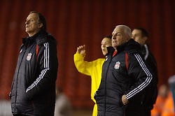 Sheffield, England - Thursday, February 15, 2007: Liverpool's Head of Youth Development Steve Heighway (R) and coach John Owens watch their side beat Sheffield United 3-1 during the FA Youth Cup Quarter-Final match at Bramall Lane. (Pic by David Rawcliffe/Propaganda)