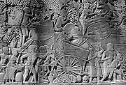 Cambodia. Relief on wall at Bayon Temple.<br /> Angkor.<br /> November 2001