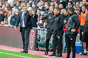 Craig Levein, manager of Heart of Midlothian points out there us only 4 minutes of injury time to the fourth official during the Ladbrokes Scottish Premiership match between Heart of Midlothian and Aberdeen at Tynecastle Stadium, Edinburgh, Scotland on 20 October 2018.