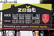 The final scoreboard during the Betfred Super League match between Hull Kingston Rovers and Leeds Rhinos at the Lightstream Stadium, Hull, United Kingdom on 29 April 2018. Picture by Mick Atkins.