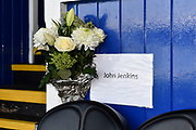 Flowers in the directors box for John Jenkins ahead of the EFL Sky Bet League 1 match between Portsmouth and Ipswich Town at Fratton Park, Portsmouth, England on 21 December 2019.