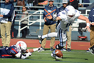 Villanova quarterback Kyle McCloskey (11) fumbles the football short of the end zone after being tripped up by Richmond's Brendan Coniker (15) in the first quarter Saturday, November 04, 2017 at Villanova Stadium in Villanova, Pennsylvania. (WILLIAM THOMAS CAIN / For The Philadelphia Inquirer)