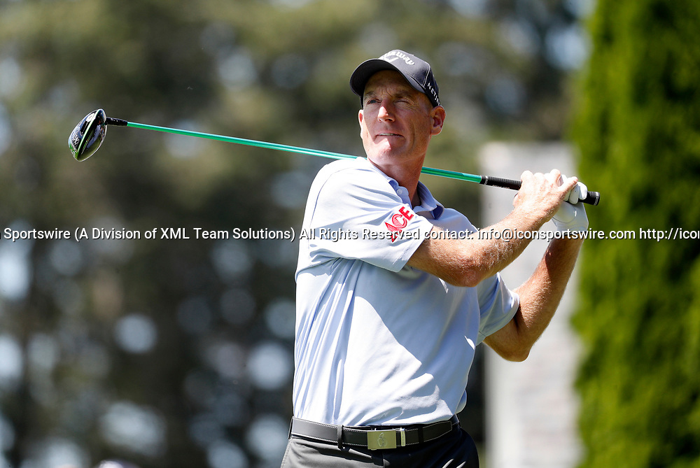 CROMWELL, CT - JUNE 24: Jim Furyk of the United States watches his drive on 6 during the third round of the Travelers Championship on June 24, 2017, at TPC River Highlands in Cromwell, Connecticut. (Photo by Fred Kfoury III/Icon Sportswire)