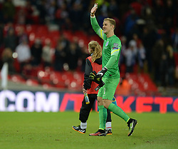 Joe Hart of England (Manchester City) waves to the crowd. - Photo mandatory by-line: Alex James/JMP - Mobile: 07966 386802 - 15/11/2014 - SPORT - Football - London - Wembley - England v Slovenia - EURO 2016 Qualifier