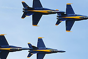 The US Navy Blue Angels  F/A-18 Hornets perform their demonstration at the Joint Services Open House at Andrews Air Force Base outside Washington, DC, USA Saturday 17 May 2008. The Blue Angels are the US Navy flight demonstration team.