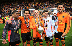 Free to use courtesy of Sky Bet - Wolverhampton Wanderers players celebrate after lifting the Sky Bet Championship 2017/18 league trophy - Mandatory by-line: Matt McNulty/JMP - 28/04/2018 - FOOTBALL - Molineux - Wolverhampton, England - Wolverhampton Wanderers v Sheffield Wednesday - Sky Bet Championship