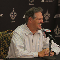30 July 2009: New Orleans Saints general manage, Mickey Loomis during a press conference to signal the start of New Orleans Saints training camp that will held at the team's practice facility in Metairie, Louisiana.