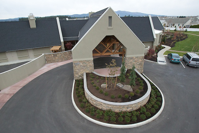 Elevated exterior photos of Hospice of North Idaho's Hospice House in Coeur d'Alene, Idaho.