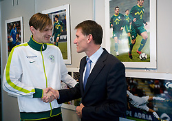 Milivoje Novakovic of Slovenian National Football team and General manager of Hypo bank Anton Romih during opening of Photo exhibition in Hypo bank, on May 19, 2010 in Ciytpark, BTC, Ljubljana, Slovenia. (Photo by Vid Ponikvar / Sportida)