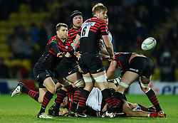 Saracens Scrum-Half (#9) Richard Wigglesworth passes from the breakdown during the second half of the match - Photo mandatory by-line: Rogan Thomson/JMP - Tel: Mobile: 07966 386802 16/12/2012 - SPORT - RUGBY - Vicarage Road - Watford. Saracens v Munster Rugby - Heineken Cup Round 4.