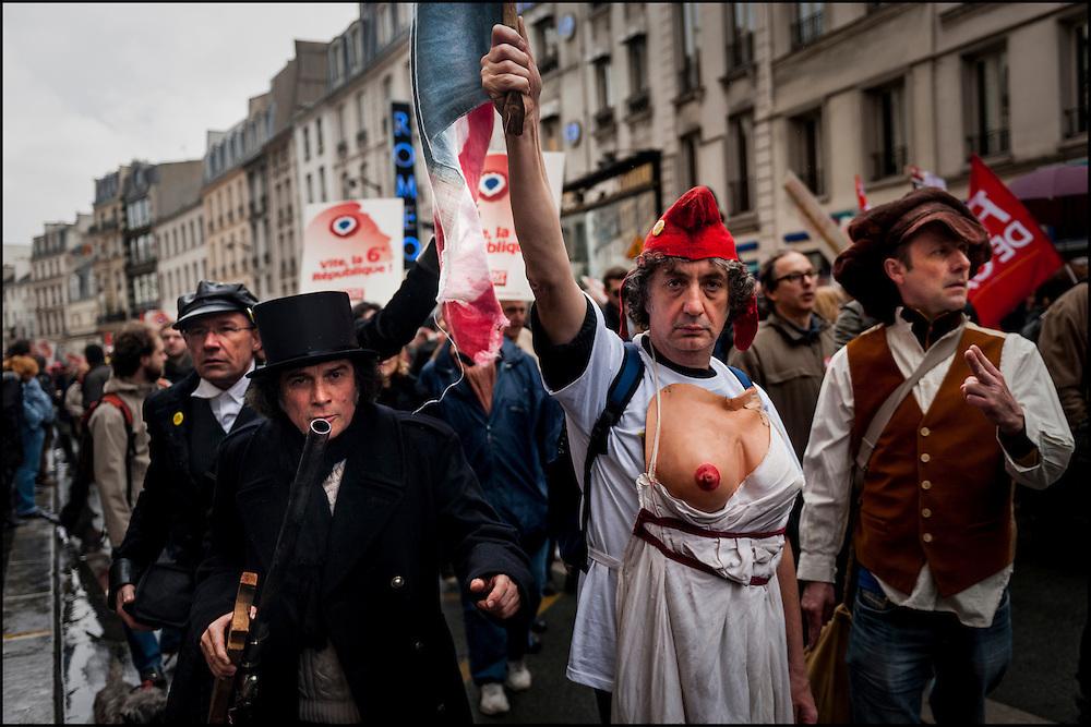 © Benjamin Girette / IP3 PRESS ;  le 18 Mars 2012 - Le Front de Gauche, en presence de Jean Luc Melenchon candidat a l'élection presidentielle organise un rassemblement a la Bastille.